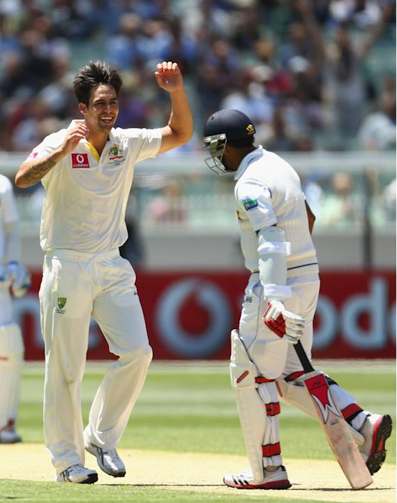 Mitchell Johnson of Australia celebrates the wicket of Dhammika Prasad of Sril Lanka during day one of the Second Test match between Australia and Sri Lanka at Melbourne Cricket Ground on December 26,