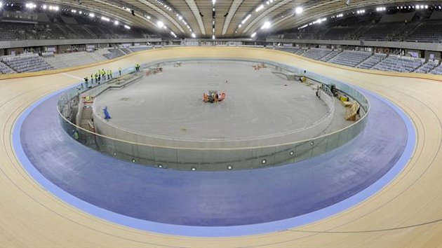 The velodrome at the London Olympic site in Stratford in east London