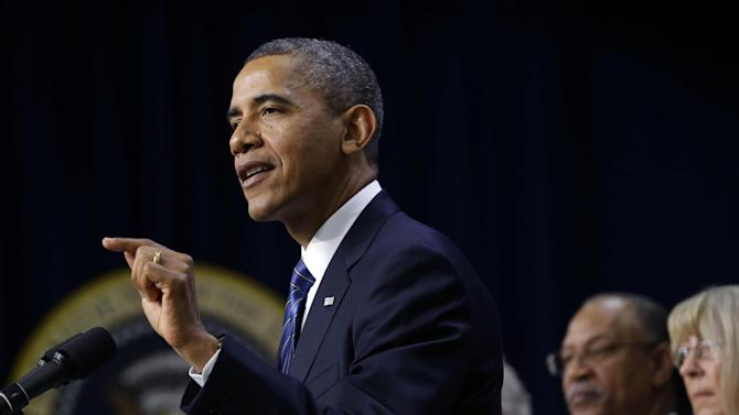 President Barack Obama gestures as he speaks in the Eisenhower Executive Office Building, on the White House campus in Washington, Wednesday, Nov. 28, 2012, about how middle class Americans would see their taxes go up if Congress fails to act to extend the middle class tax cuts. The president said he believes that members of both parties can reach a framework on a debt-cutting deal before Christmas. (AP Photo/Pablo Martinez Monsivais)