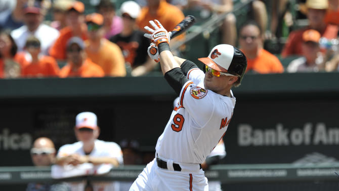 Baltimore Orioles' Nate McLouth follows through on a single against the Toronto Blue Jays in the first inning of a baseball game, Sunday, July 14, 2013, in Baltimore. (AP Photo/Gail Burton)
