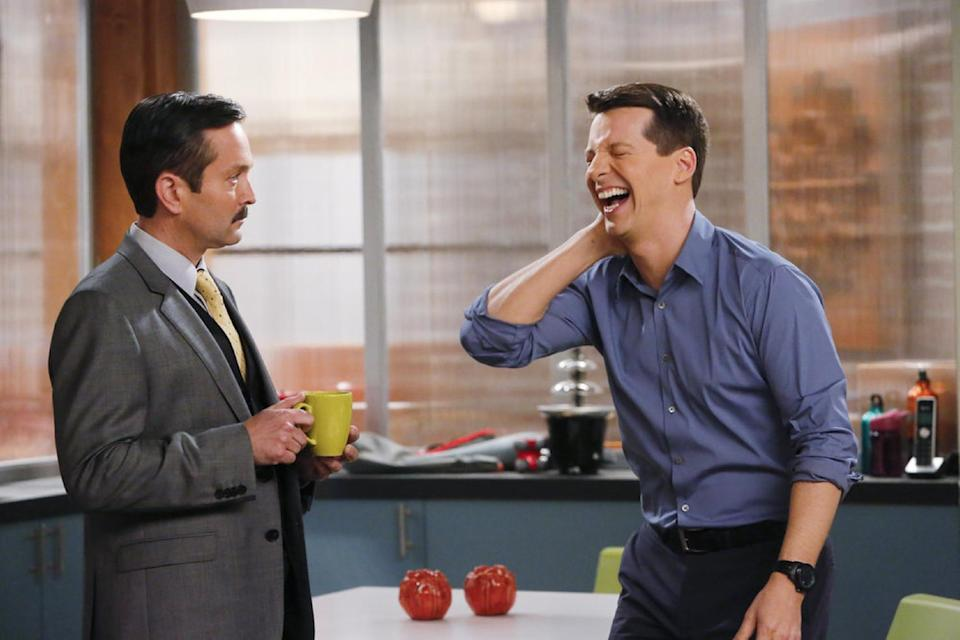"This publicity image released by NBC shows Thomas Lennon as Max, left, and Sean Hayes as Sean in ""Sean Saves The World,"" premiering Oct. 3 at 9 p.m. EST. (AP Photo/NBC, Vivian Zink)"