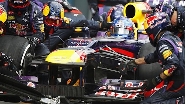 The Red Bull Racing team perform a pit stop (Reuters)