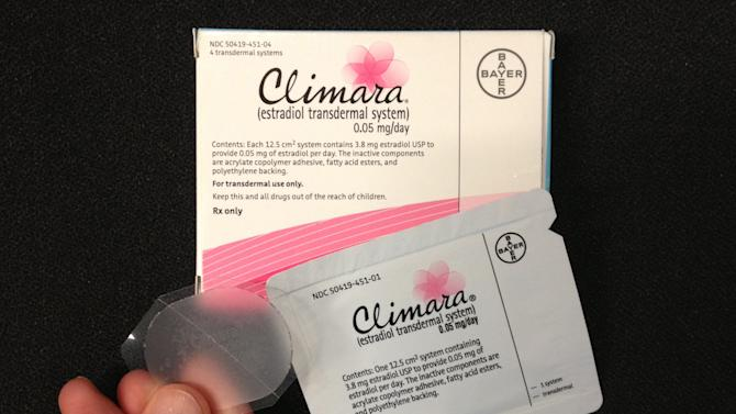 This Tuesday, Oct. 2, 2012 photo shows Bayer's Climara low-dose estrogen skin patch. A new study may reassure some women considering short-term use of hormones to relieve hot flashes and other menopause symptoms. Starting low-dose treatment early in menopause made women feel better and did not seem to raise heart risks during the four-year study. (AP Photo)