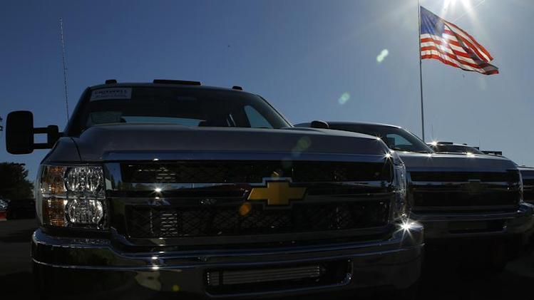 Chevrolet Silverado pickup trucks are seen in Gaithersburg, Maryland