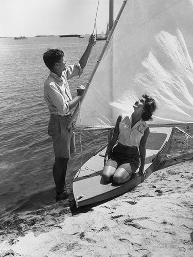 Jacqueline Kennedy and John F. Kennedy sailing in Hyannis Port, MA, 1955