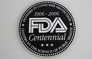 A view shows the U.S. Food and Drug Administration (FDA) logo at its headquarters in Silver Spring