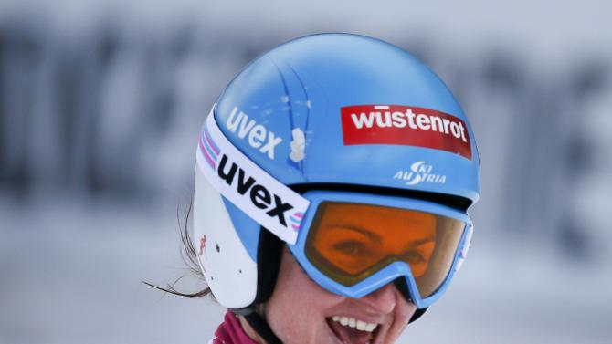 Goergl of Austria reacts after placing second in the women's World Cup Downhill skiing race in Val d'Isere