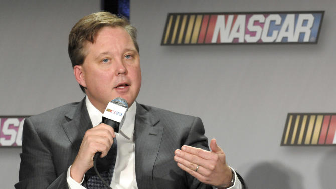 FILE - In this Jan. 26, 2011, file photo, NASCAR chairman Brian France announces changes to the points system in NASCAR's top series for the 2011 season, during a news conference in Charlotte, N.C. France said Tuesday, July 24, 2012, he is confident in the series' drug testing program that is under scrutiny again after driver A.J. Allmendinger's failed test. (AP Photo/Mike McCarn, File)