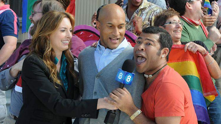 "Erin Gibson, <a href=""/baselineperson/3846719"">Keegan-Michael Key</a>, and Jordan Peelel in ""Key & Peele."""