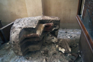 A damaged object lies on the floor of the Malawi Antiquities …