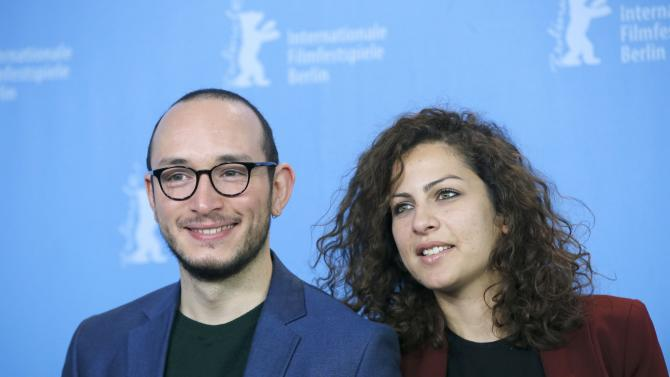 Actors Mastoura and Ben Messaoud poses during a photocall at 66th Berlinale International Film Festival in Berlin