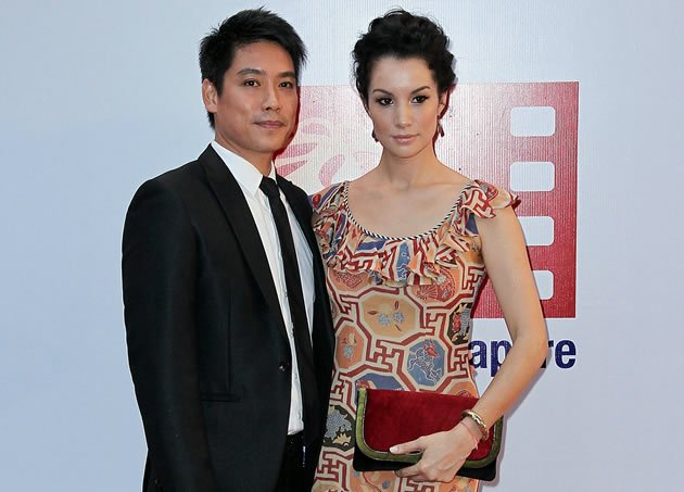 Ex-national swimmer Desmond Koh and his wife Nadya Hutagalung during last year&#x002019;s ScreenSingapore. (Getty Images)