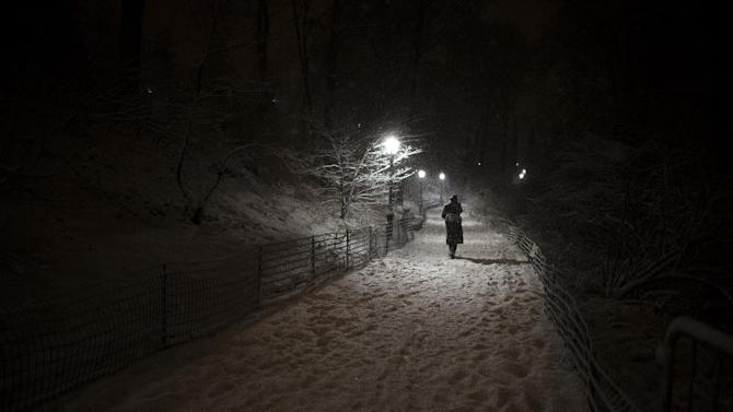 A pedestrian walks along a snowy path in Central Park, Friday, Feb. 8, 2013, in New York. Snow began falling across the Northeast on Friday, ushering in what was predicted to be a huge, possibly historic blizzard and sending residents scurrying to stock up on food and gas up their cars. (AP Photo/John Minchillo)