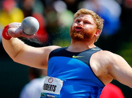 U.S. shot putter Kurtis Roberts throws during the the U.S. Olympic athletics trials in Eugene Mike Blake / Reuters