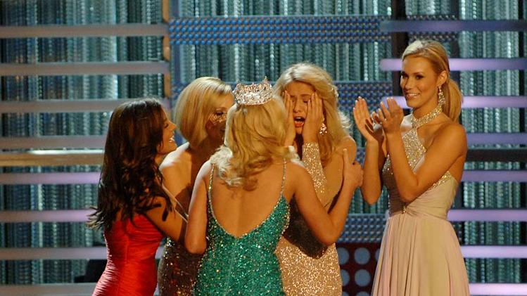 Miss Michigan, Kristen Haglund is crowned Miss America 2008 at The 2008 Miss America Pageant.