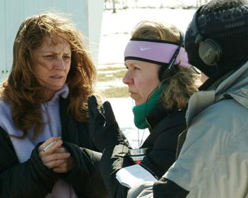 Melissa Leo and director Courtney Hunt on the set of Sony Pictures Classics' Frozen River