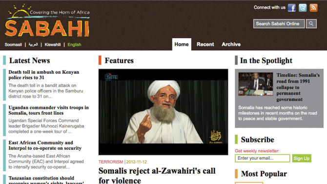 This image downloaded from the internet on Tuesday, Nov. 13, 2012, shows the main page of the sabahionline.com website, featuring an image made from video showing al-Qaida leader Ayman Al-Zawahri. At first glance it appears to be a sleek Horn of Africa news site, but in fact the website is run by the U.S. military as part of a propaganda operation aimed at countering extremists in Africa. (AP Photo/Internet)