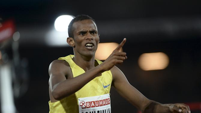 Ayanleh Souleiman of Djibouti reacts after winning the men's 1500m at the IAAF Athletics Diamond League meeting at Stockholm Olympic Stadium