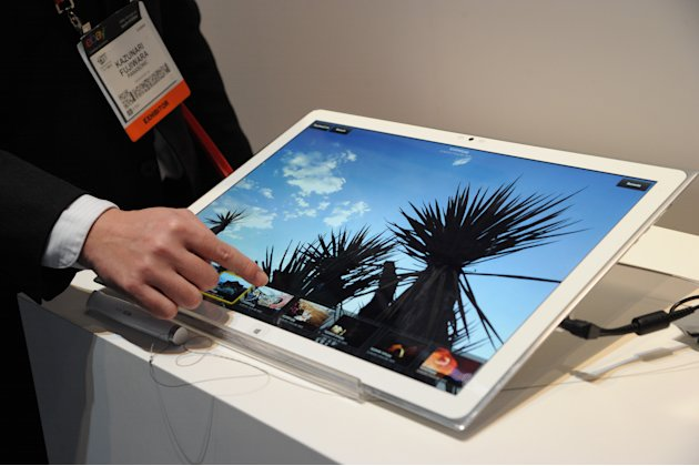 "The New 20"" 4k Tablet at The 2013 International CES, on Tuesday, January 8, 2013, Las Vegas, NV displayed in the Panasonic Booth (Photo by Al Powers/Invision for Panasonic/AP Images)"