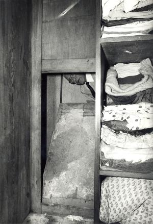 In this picture provided by the Jewish History Institute in Warsaw, Poland, a Jewish World War II hideout is pictured behind a wardrobe in a Warsaw apartment. Leon Jolson, who made the hideout, was hiding there with his family until Sept. 1944, after fleeing the Warsaw ghetto. Jolson and his wife Anna survived, and the hideout was put on the list of protected historic monuments, but in 2012 Warsaw authorities discovered that the tenants in the tiny apartment have knocked the wardrobe down and arranged a kitchen in the niche where the Jolson family had been hiding. The couple, identified only as Dariusz P. and Elzbieta P. have been indicted and have pleaded guilty of destroying the place, Dariusz Slepokura, a spokesman for Warsaw prosecutors said Tuesday, Sept. 10, 2013. They have asked for a suspended one-year prison term, without trial. (AP Photo/Jewish History Institute) POLAND OUT