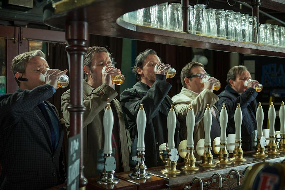 "This film publicity image released by Focus Features shows, from left, Martin Freeman, Paddy Considine, Simon Pegg, Nick Frost, and Eddie Marsan in a scene from ""The World's End."" (AP Photo/Focus Features, Laurie Sparham)"