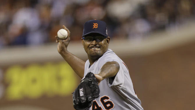 Detroit Tigers' Jose Valverde throws during the seventh inning of Game 1 of baseball's World Series against the San Francisco Giants Wednesday, Oct. 24, 2012, in San Francisco. (AP Photo/Marcio Jose Sanchez)