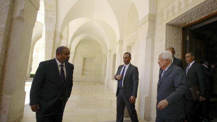 Palestinian President Mahmoud Abbas leaves after a meeting with Jordan's King Abdullah at the royal palace in Amman