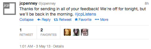 Twitter JCPenney apology