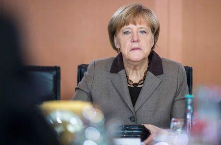 German Chancellor Merkel attends a cabinet meeting at the Chancellery in Berlin