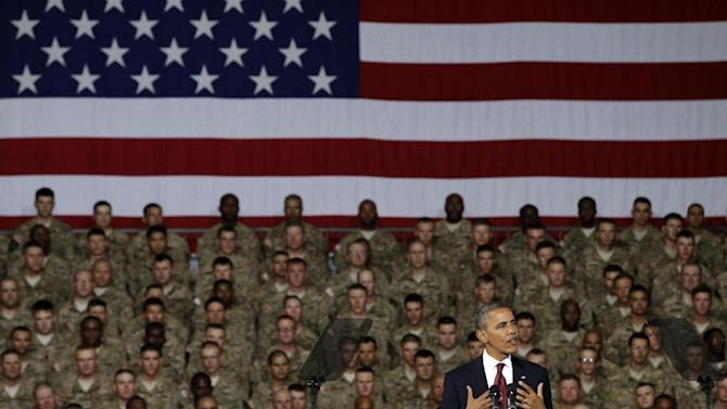 President Barack Obama speaks to troops, service members and military families at the 1st Aviation Support Battalion Hangar at Fort Bliss Friday, Aug. 31, 2012, in El Paso, Texas. (AP Photo/Tony Gutierrez)