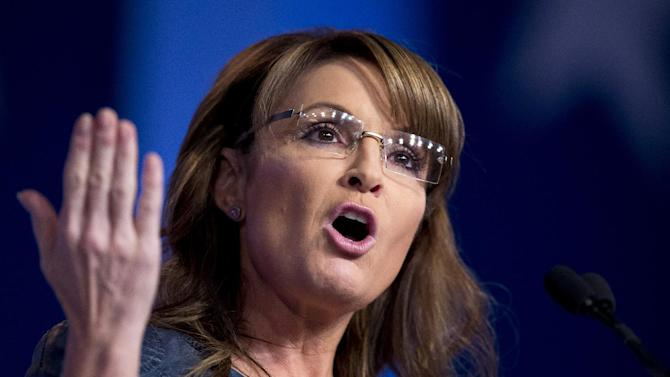 Former Alaska Gov. Sarah Palin and former vice presidential candidate speaks at the 2014 Values Voter Summit in Washington, Friday, Sept. 26, 2014. (AP Photo/Manuel Balce Ceneta)