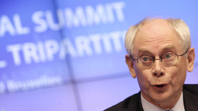 European Council President Herman Van Rompuy speaks during a media conference at an EU summit in Brussels on Thursday, March 1, 2012. European leaders meet for a two-day summit aimed at tackling unemployment and boosting economic growth in the region. (AP Photo/Virginia Mayo)