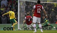 Norwich City&#39;s Captain Grant Holt (L) scores a goal during an English Premier League football match against Arsenal at Carrow Road stadium in Norwich, England. Norwich stunned Arsenal as Grant Holt punished a mistake from Vito Mannone to seal a shock 1-0 victory over the Gunners