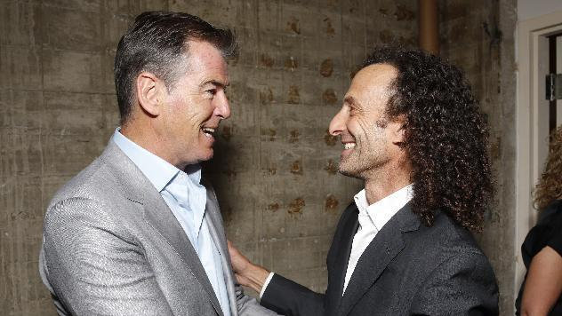"IMAGE DISTRIBUTED FOR SONY PICTURES CLASSICS - Pierce Brosnan and Kenny G attend the premiere Of Sony Picture Classics' ""Love Is All You Need"", on Thursday, April, 25, 2013 in Hollywood, California. (Photo by Todd Williamson/Invision for Sony Pictures Classics/AP Images)"