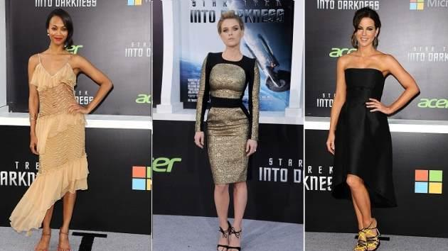 Zoe Saldana, Alice Eve And Kate Beckinsale At Los Angeles Premiere Of 'Star Trek: Into Darkness' -- WireImage / FilmMagic
