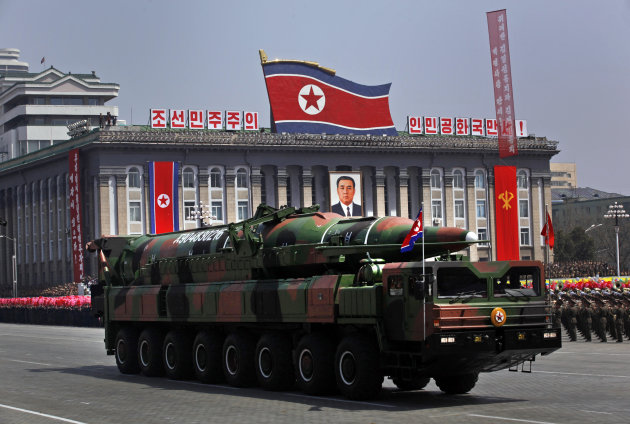 FILE - In this April 15, 2012 file photo, a North Korean vehicle carrying what appears to be a new missile passes by during a mass military parade in the Kim Il Sung Square in Pyongyang to celebrate 100 years since the birth of the late North Korean founder Kim Il Sung. North Korea warned Tuesday, Oct. 9, 2012 that the U.S. mainland is within range of its missiles, saying Washington's recent agreement to let Seoul possess missiles capable of hitting all of the North shows the allies are plotting to invade the country. (AP Photo/Vincent Yu, File)