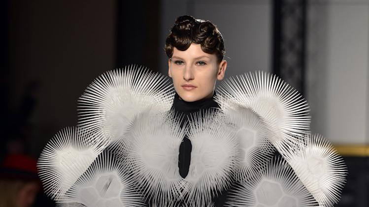 A model wears a creation by Dutch fashion designer Iris van Herpen for her Spring Summer 2013 Haute Couture fashion collection, presented in Paris, Monday, Jan.21, 2013. (AP Photo/Benjamin Girette)