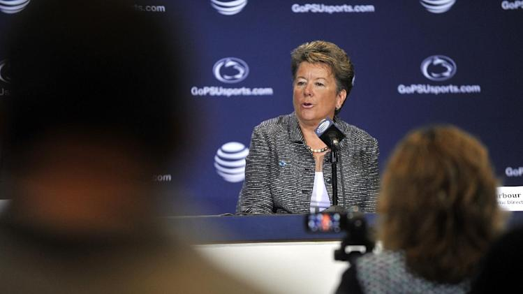 New Penn State athletic director Sandy Barbour talks with reporters in State College, Pa. on Saturday, July 26, 2014. Penn State has hired Barbour as athletic director, a month after she stepped down as AD at the University of California-Berkeley. Barbour replaces David Joyner, who announced he was resigning last month. Joyner took over at Penn State in the wake of the Jerry Sandusky scandal and held the job for two and a half years. (AP Photo/Centre Daily Times, Christopher Weddle)