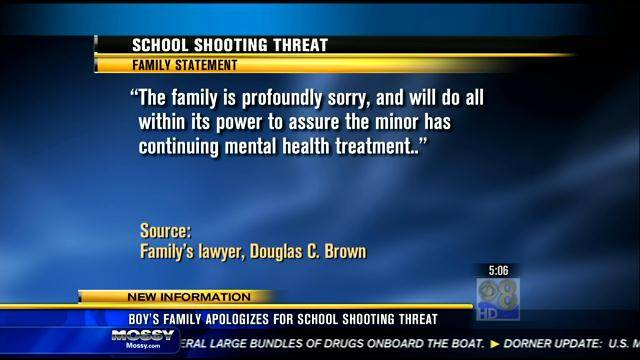 Boy's family apologizes for school shooting threat