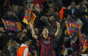 Barcelona's Messi celebrates after scoring a goal against Manchester City during their Champions League last 16 second leg soccer match