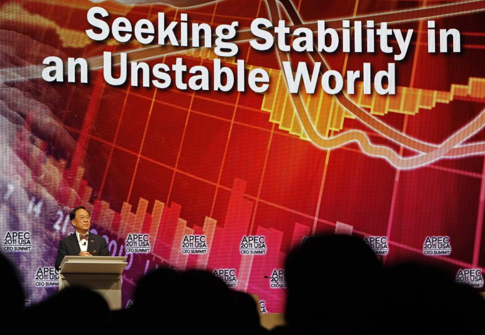 Hong Kong's Chief Executive Donald Tsang speaks at the Asia-Pacific Economic Cooperation, APEC, summit Friday, Nov. 11, 2011, in Honolulu.  (AP Photo/Andres Leighton)