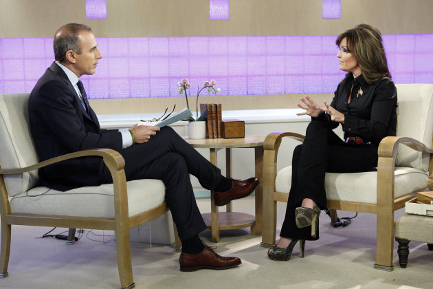 &quot;Today&quot; show co-host Matt Lauer and guest co-host, Sarah Palin, talk on the show&#39;s set in New York on Tuesday, April 3, 2012. Palin was the much-hyped guest co-host on NBC&#39;s &quot;Today,&quot; going head-to-head against former &quot;Today&quot; anchor Katie Couric, who this week is subbing on &quot;Good Morning America&quot; at her current workplace, ABC. (AP Photo/NBC, Peter Kramer)