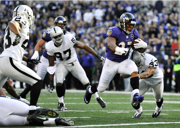 Baltimore Ravens running back Ray Rice runs into the end zone for a touchdown past Oakland Raiders defenders in the first half of an NFL football game in Baltimore, Sunday, Nov. 11, 2012. (AP Photo/Ga