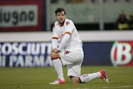 AS Roma's forward Mattia Destro reacts during an Italian Serie A football match at Massimino Stadium on January 13, 2013 in Catania. Destro is set for a spell on the sidelines after twisting his knee in the first leg of an Italian Cup semi-final against Inter Milan, his club announced Friday