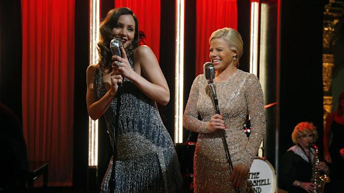 """This Dec. 12, 2012 photo released by NBC shows Katharine McPhee, left, and Megan Hilty on the set of """"Smash,"""" premiering with a two-hour episode on Tuesday, Feb. 5, 2013 at 9 p.m. EST on NBC. (AP Photo/NBC, Will Hart)"""