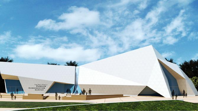 In this artists rendering provided by the Detroit Zoological Society is The Polk Family Penguin Conservation Center that will be home to the largest center in the U.S. dedicated to penguins, thanks to the most substantial private donation in its history, the zoo announced Wednesday, Sept. 18, 2013. The 24,000-square-foot center is being made possible, in part, by a $10 million donation given by Stephen Polk and his family. Polk is the former CEO of the R.L. Polk Co. (AP Photo/Detroit Zoological Society)