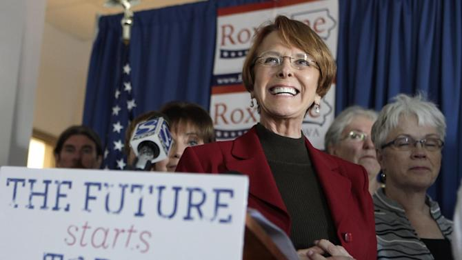 FILE - In this Sept. 27, 2010, file photo, Iowa Democratic Senatorial candidate Roxanne Conlin stands in front of supporters as she speaks during a news conference in Des Moines, Iowa. Iowa was among the first states to legalize gay marriage and served as the liftoff site for President Barack Obama's 2008 campaign, but in other arenas the state isn't quite so progressive _ it's also one of just two states to never elect a woman governor, senator or member of Congress. (AP Photo/Charlie Neibergall, File)