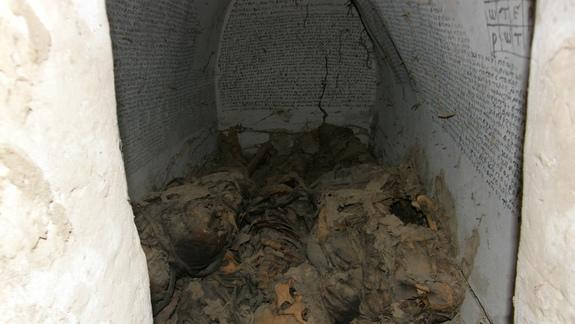Inscriptions Everywhere! Magical Medieval Crypt Holds 7 Male Mummies