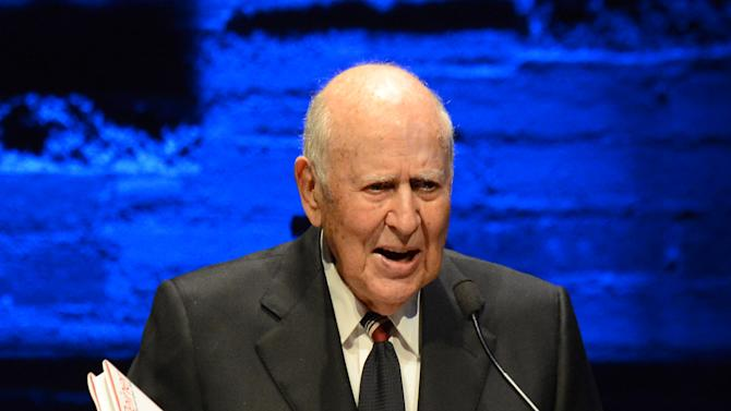 EXCLUSIVE CONTENT - Carl Reiner presents the distinction in theatre award during the Backstage at the Geffen gala at the Geffen Playhouse on Monday, May 13, 2013, in Los Angeles. (Photo by Jordan Strauss/Invision for Geffen/AP Images)