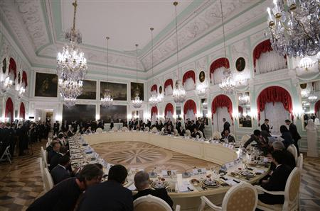 G20 leaders attend the working dinner after their session of the G20 Summit in Peterhof, near St. Petersburg, September 5, 2013. REUTERS/Ramil Sitdikov/RIA Novosti/Pool